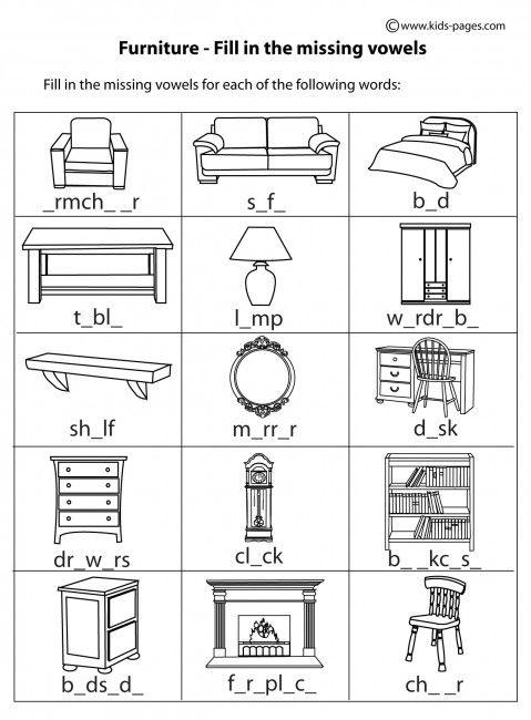 Preschool Classroom Furnitures ~ Furniture fill in b w worksheets materiale scolastico