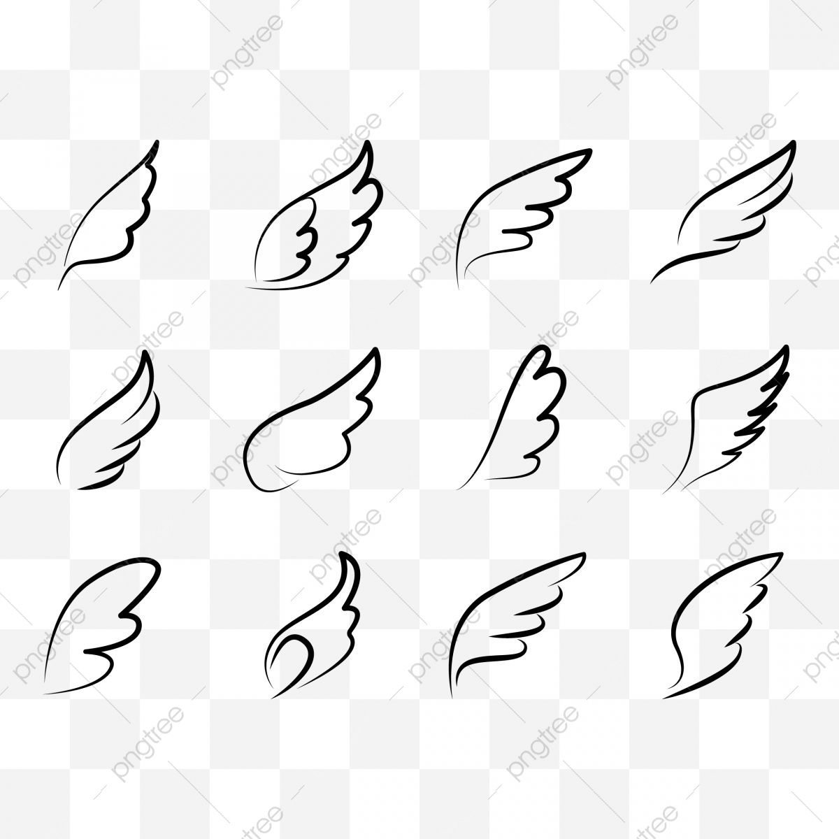 Set Of Line Wings Icon Angel Feather Wing Wing Tattoo Silhouette Flying Heaven Vector Icon Collection Of Wing Wing Clipart Feather Icons Line Icons Png And V Silhouette Tattoos Wing Tattoo