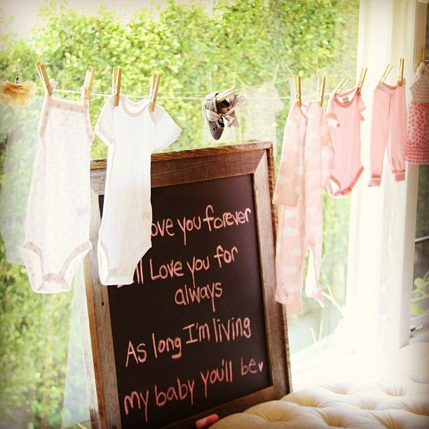 Vintage Baby Shower Lily Clothesline With Pink Onesies And