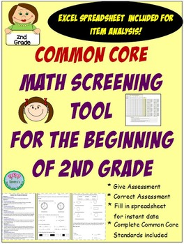 No Prep!Excel sheet included!! Enter the student scores and the Excel sheet will give you totals and percentages for your class!Students are assessed on 7 Common Core Standards for the end of 1st Grade Complete list of standards addressed are included.Complete directions also included.Great for students entering after September.May be used with Eureka Math, Everyday Math, Math Expressions or any other math program.