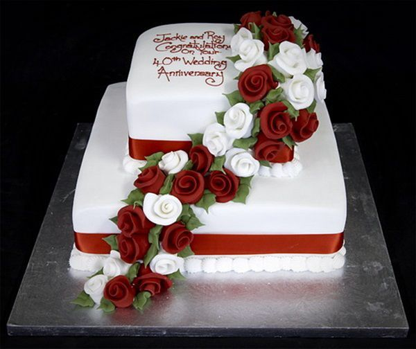 2 tier anniversary cake ideas with flowers pictures Romantic