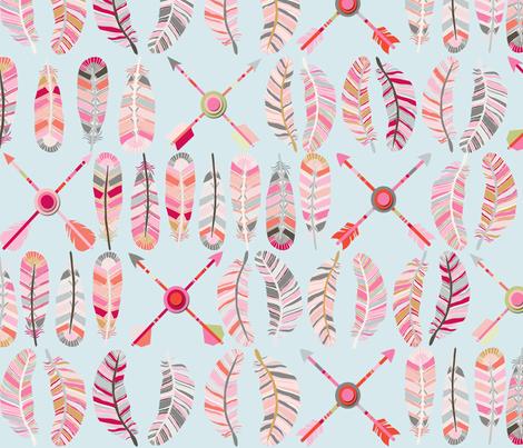 motif_plume_fl_che_fond_bleu_L fabric by nadja_petremand on Spoonflower - custom fabric