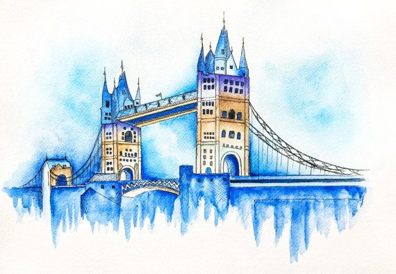 London Bridge London Print Watercolor Painting Travel Poster