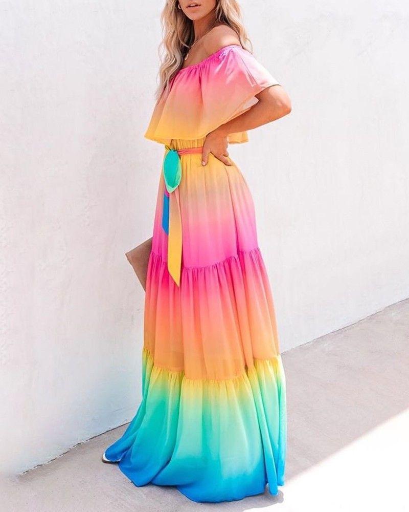 Off Shoulder Gradient Color Ruffles Maxi Dress Ruffled Maxi Dress Layered Ruffle Dress Rainbow Dress [ 1000 x 800 Pixel ]