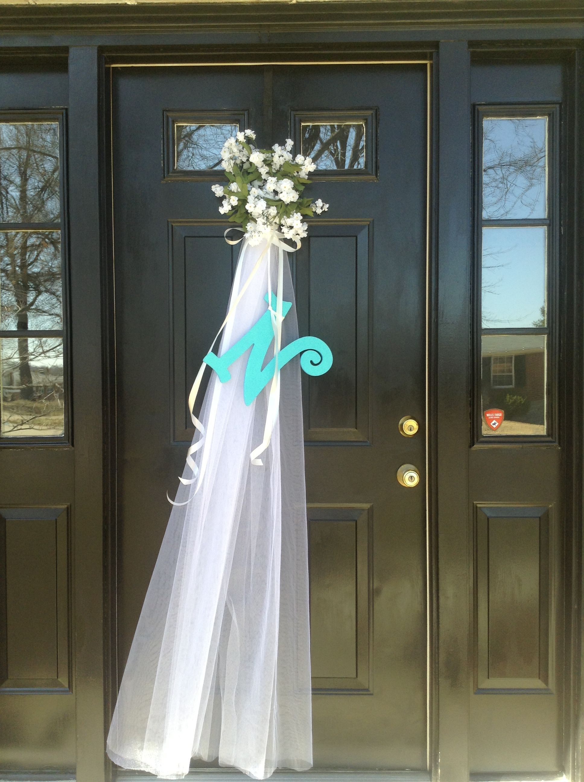 Front door decoration for bridal shower my front door for Wedding door decorating ideas