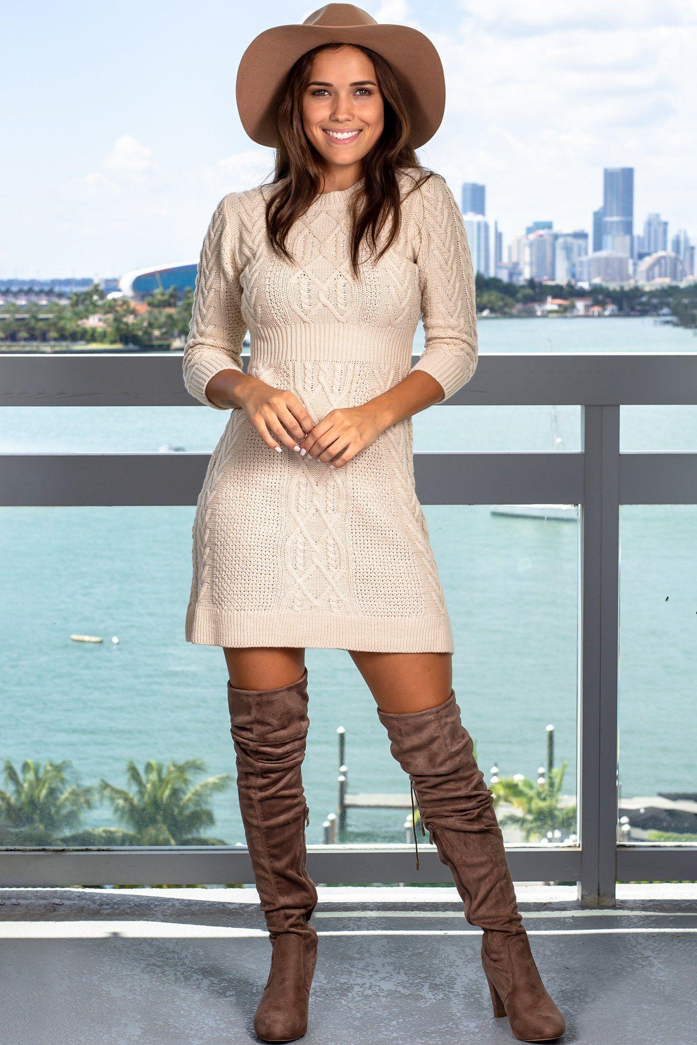 Oatmeal Knit Sweater Dress Sweater Dress Cute Sweater Dresses Knit Sweater Dress [ 2047 x 1365 Pixel ]