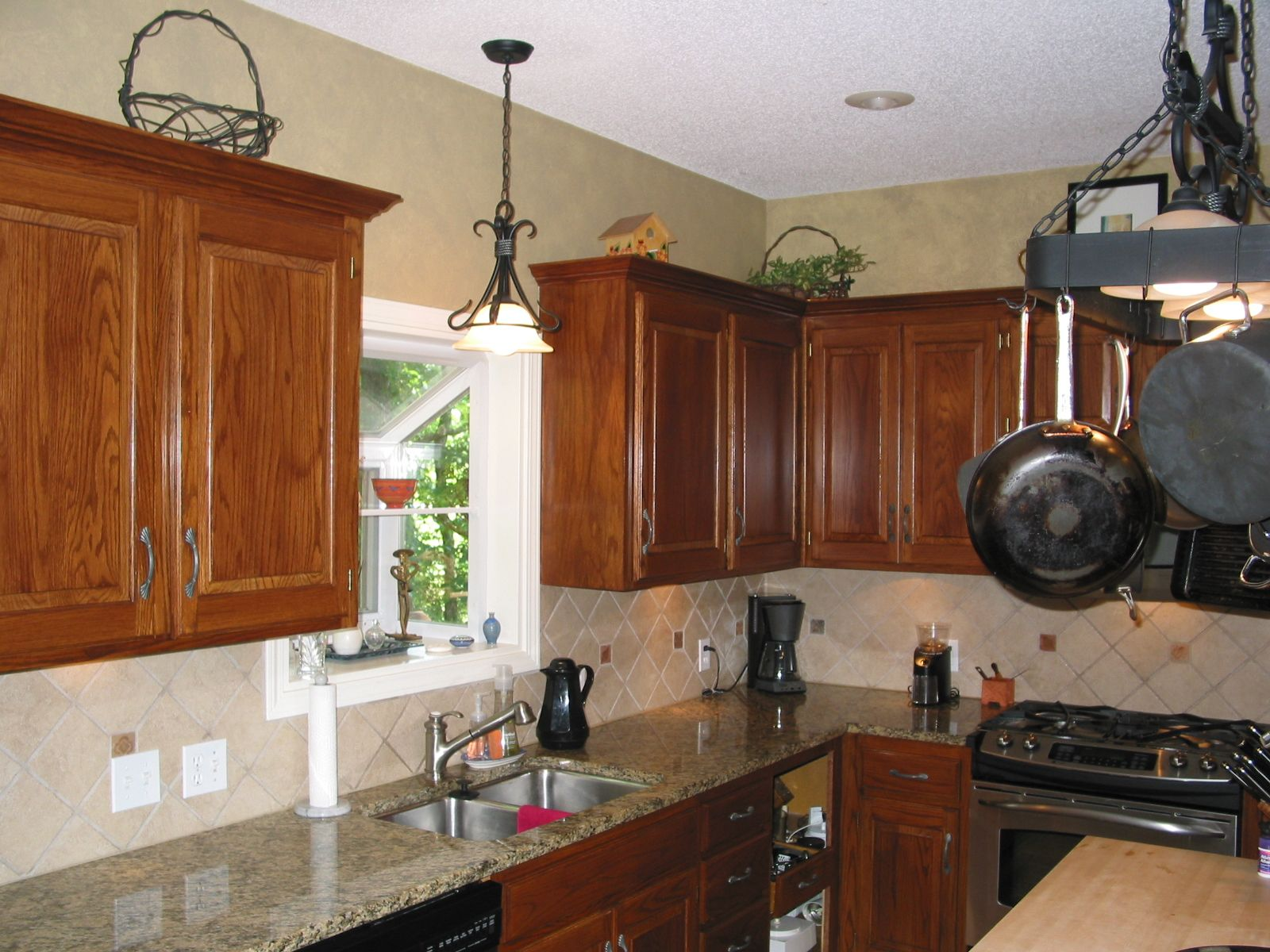Glazed oak cabinets retain the grain but without the outdated golden ...