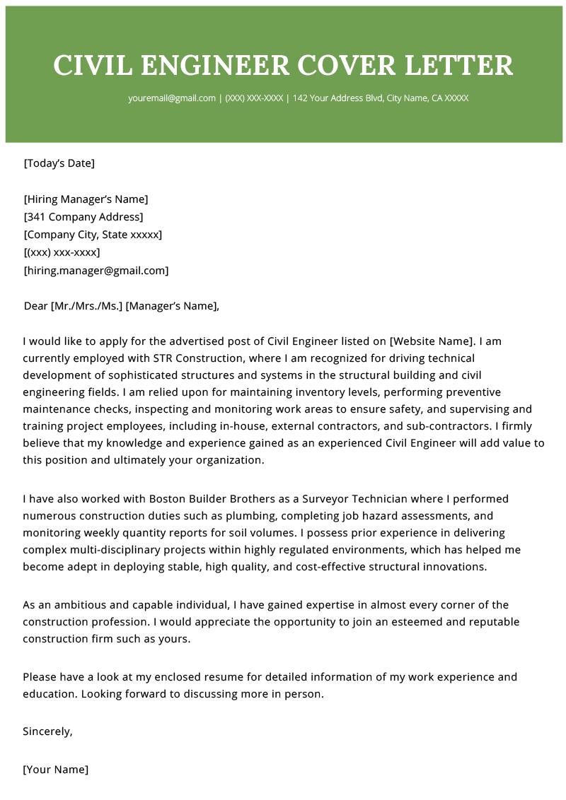 Civil Engineer Cover Letter Example Resume Genius Cover Letter Example Cover Letter For Resume Engineering Lettering