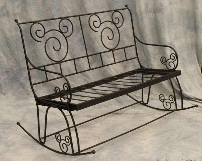 282 Wrought Iron Rocking Bench With Mickey Mouse Desig Rocking