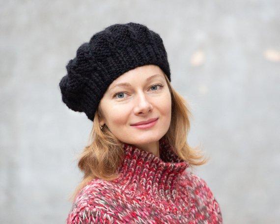 b7658d9b Black knit beret women french beret hat wool black beret chunky wool beret  winter women beret knitte
