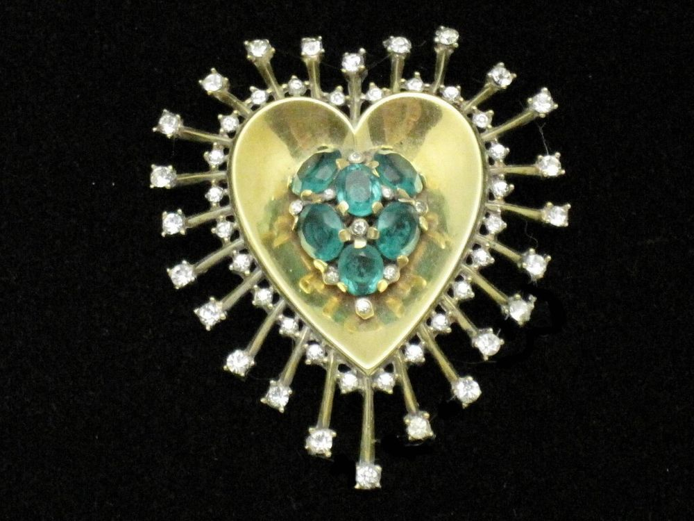 TRIFARI  Vintage 1946 Sterling Gilt Rhinestone Bleeding Heart Fur Clip Pin #CrownTrifari