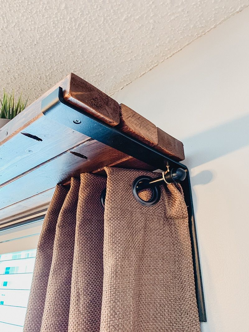 DIY Window Shelf Curtain Rod Combo