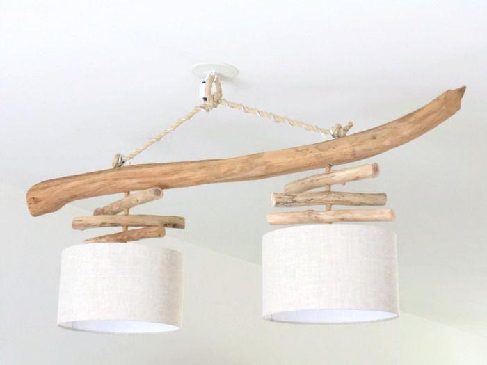 lustre en bois flott lin 30 cm double suspension led plafonnier slow deco. Black Bedroom Furniture Sets. Home Design Ideas