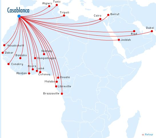 Royal Air Maroc Flight Route Map - Africa and Middle East | Royal ...