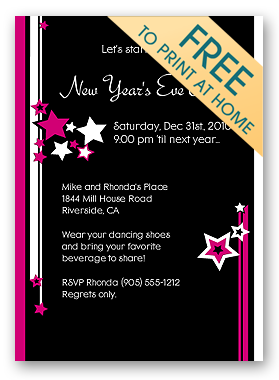 Invitation Wording For Year End Party. Printable  new year s eve party invitation New Years Ring in