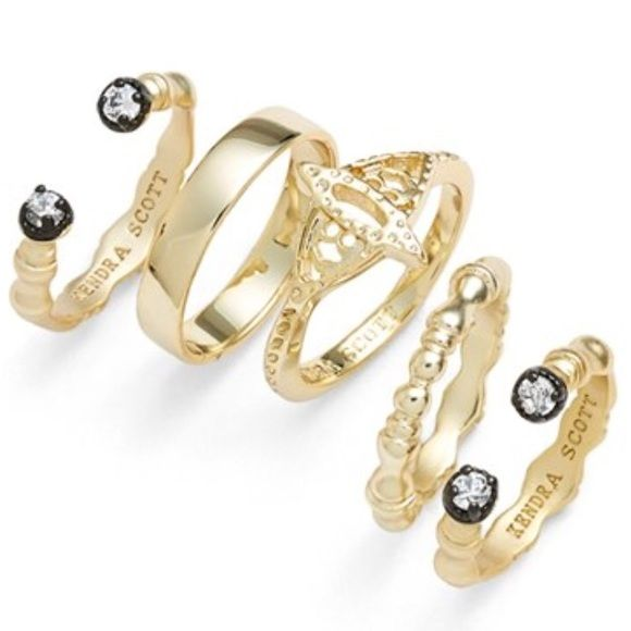 Kendra Scott Miles Midi Rings Brand new miles midi rings in gold-- set includes 5 rings Kendra Scott Jewelry Rings
