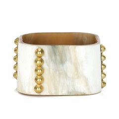 Buffalo Round Square Cuff with Conical Brass Stud Lines Main Image