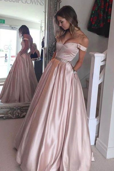 4311e10094 Hot-Selling Off Shoulder Ball Gown Pearl Pink Long Prom Evening Dress prom