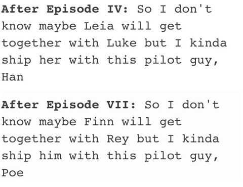 True, very true>>>what's great is that Leia ended up with Han, so by that logic Stormpilot will become canon too