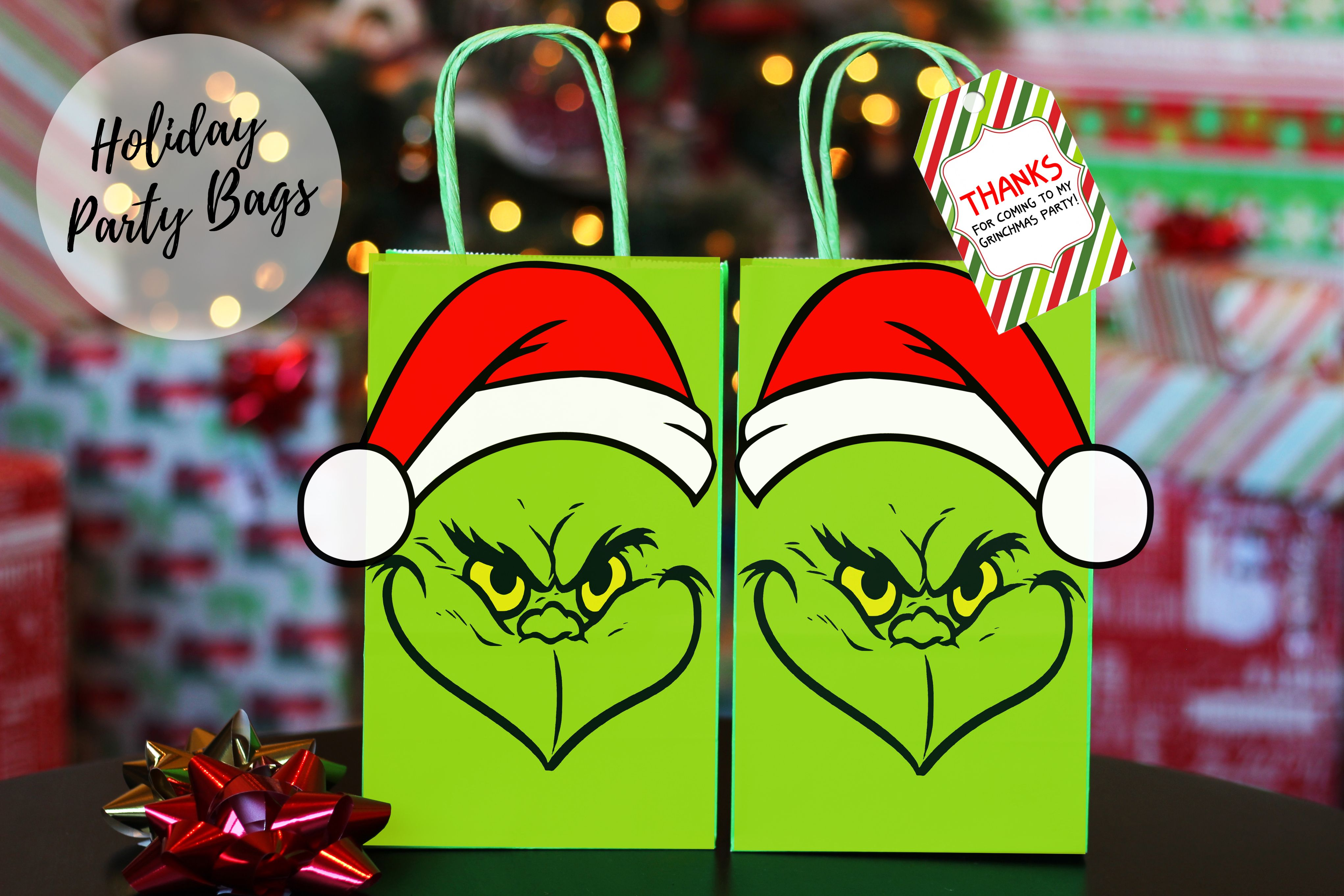 Grinch Favor Bag With Thank You Tags Grinch Party Grinch Christmas Party Party Favor Bags