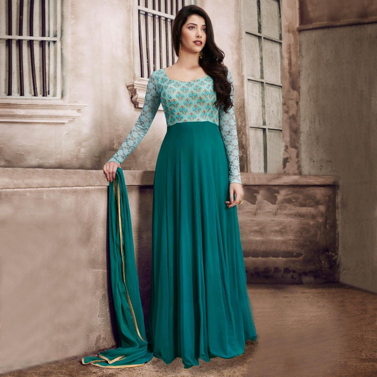Buy Green Cape Style Floor Length Georgette Suit online India, Best ...