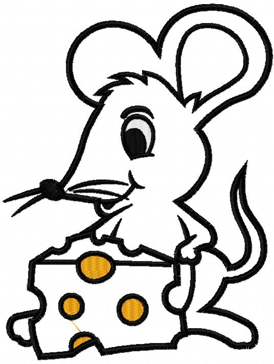 Mouse And Cheese Applique Free Embroidery Design Applique Free