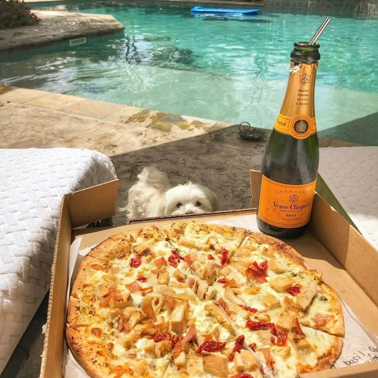 Happy Monday Enjoying Wine Pizza Today Photo By