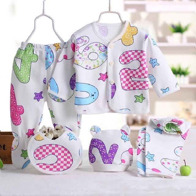 5pcs Set Newborn Baby Girl Clothes 100 Cotton Enfant Clothing Set