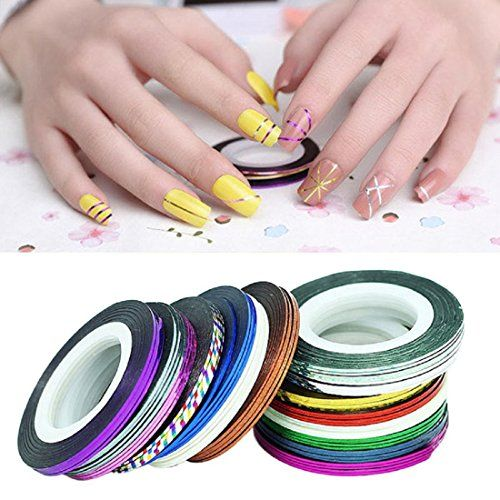 Canserin 2016 30Pcs Mixed Colors Rolls Striping Tape Line