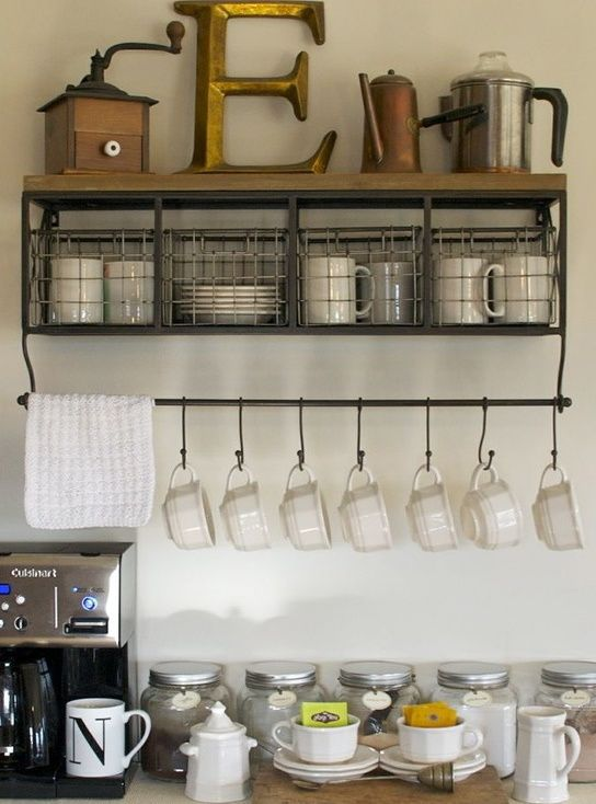 Great Storage Ideas For Coffee Or Tea And Supplies! Use The Hooks To Hang  Coats