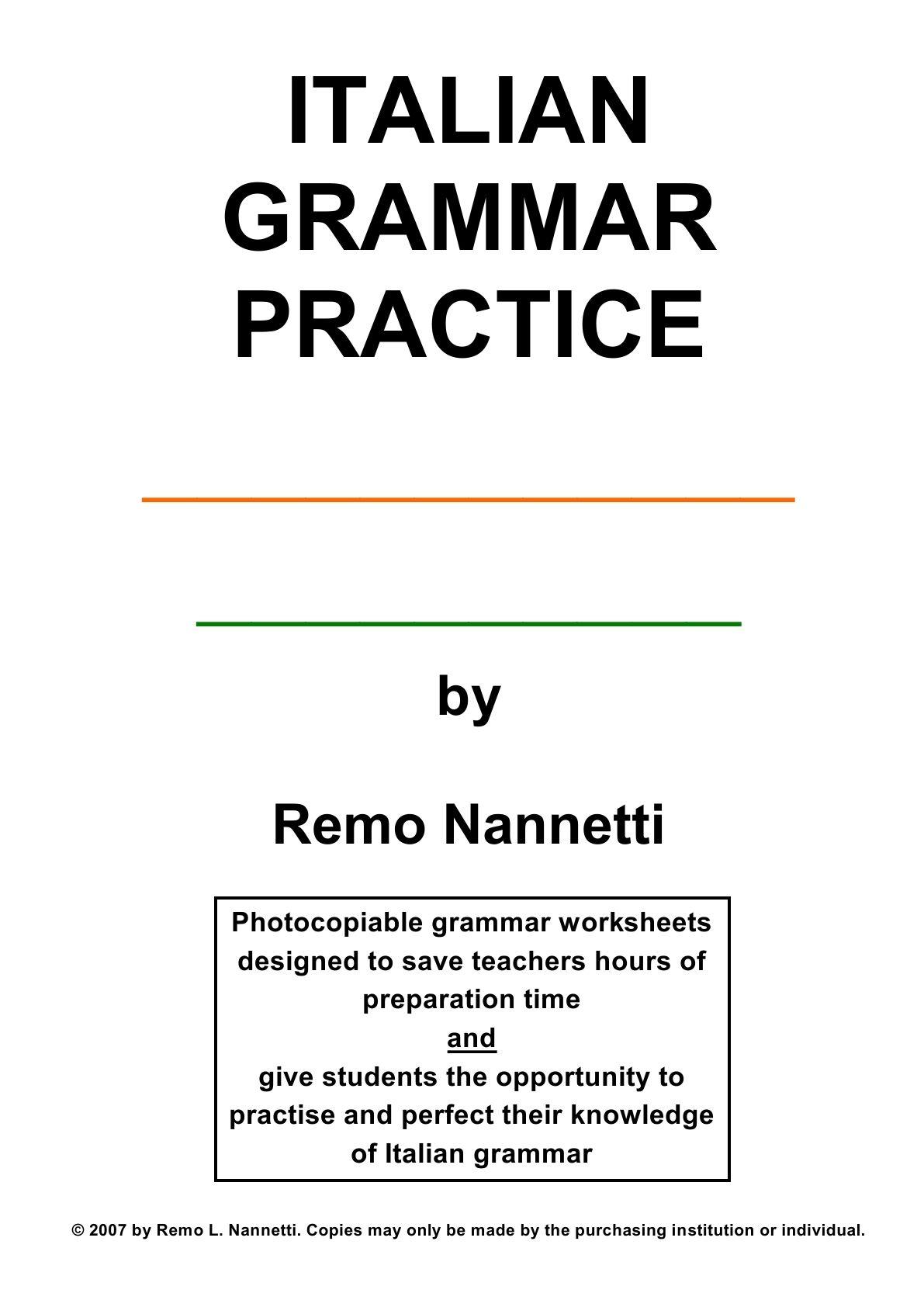 Italian Grammar Exercises And Homework Activities