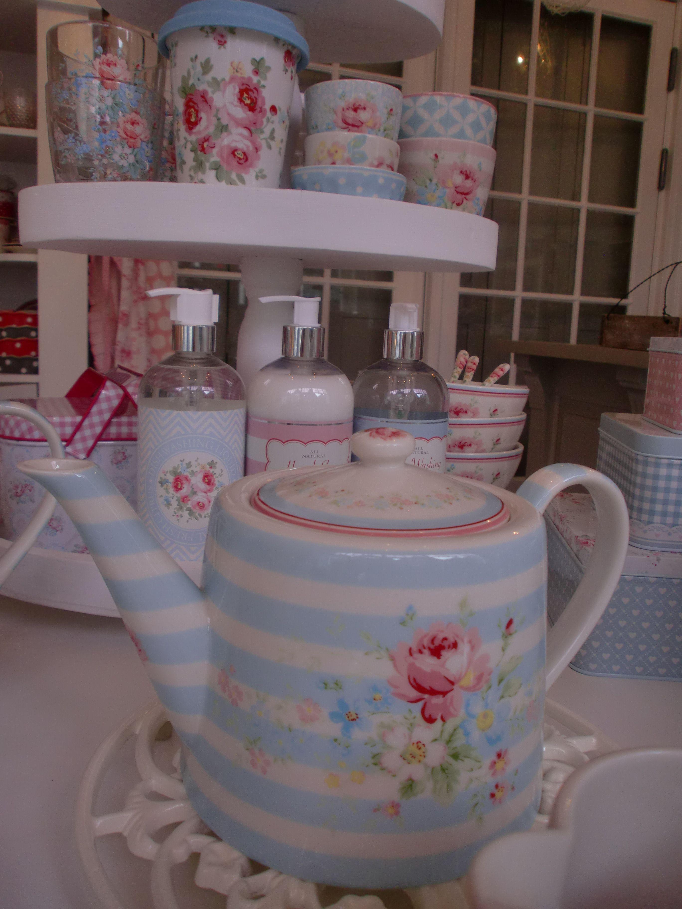 Greengate Teapot Marie Pale Blue 55, Flow Blue Chinakitchen Accessoriesvintage