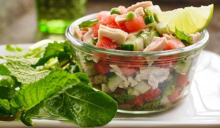 Tuna and Watermelon Summer Salsa — A juicy, unique take on salsa best enjoyed on a sunny backyard patio!