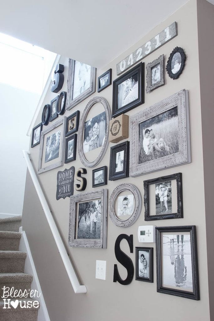 Neat idea for framing family photos-not all photos are the same ...