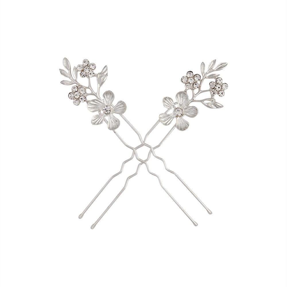 diamante flower and leaf hair pins   lovisa accessories
