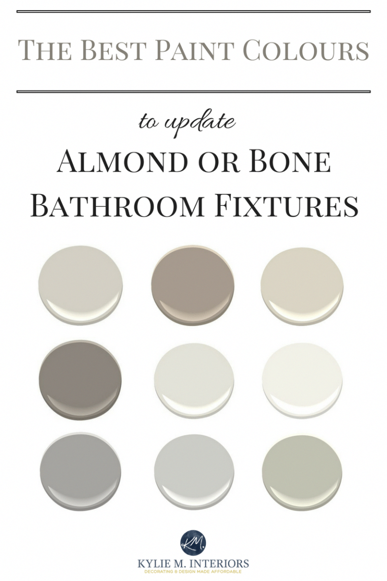 Photo of The best paint colours to update a bathroom with almond or bone toilet, sink, tu…