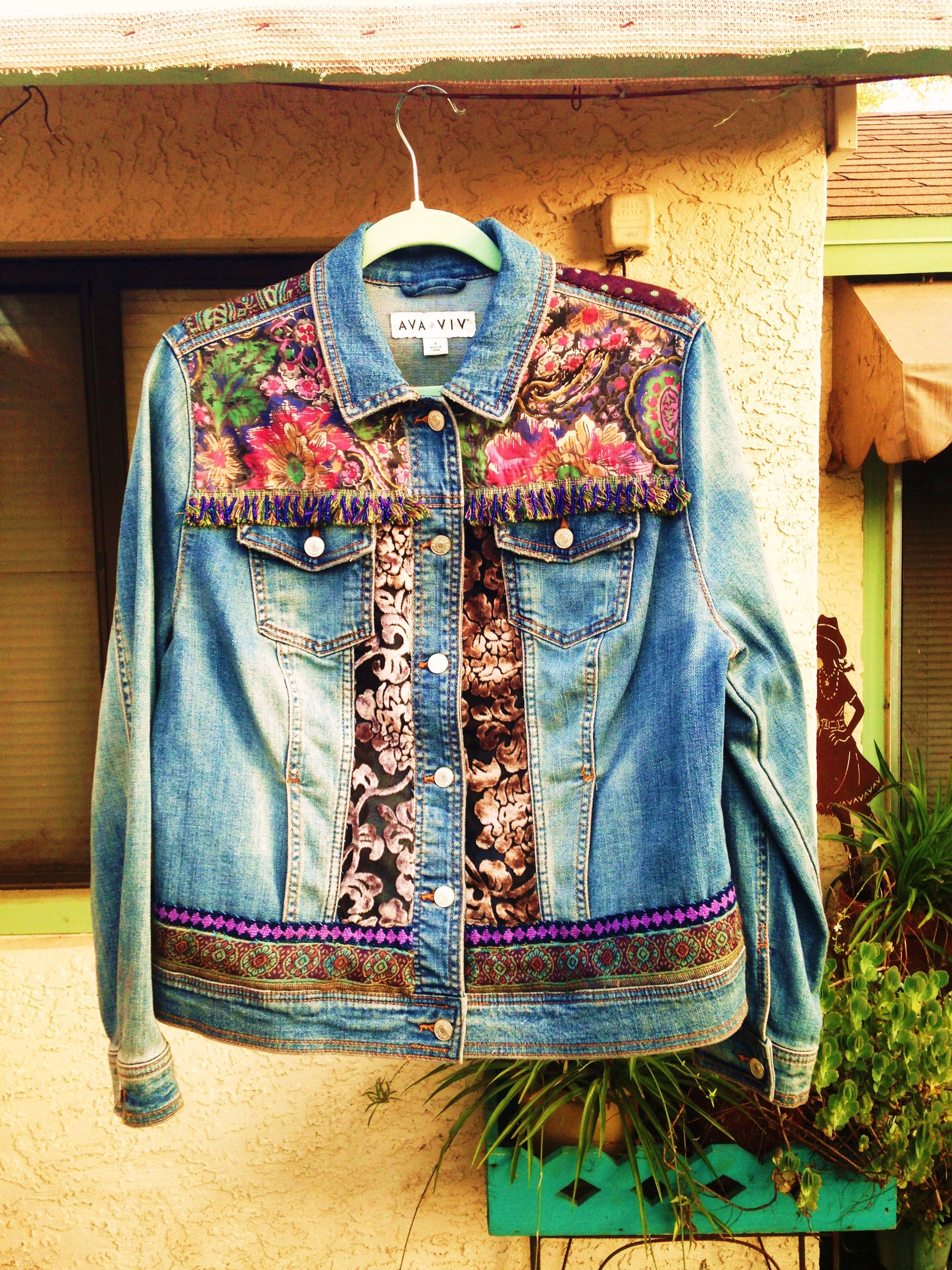Custom Painted Up Cycled Denim Boho Hippie Peace Caravan Jacket With Thrifted Fabrics Front By Bleudoor On Instagram Denim Jacket Upcycle Clothes Jackets [ 3264 x 2448 Pixel ]