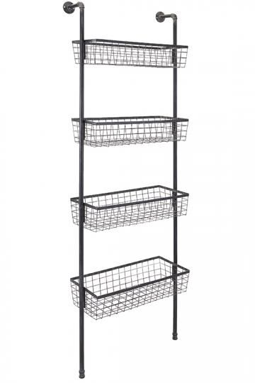 Truman Four Basket Wall Shelf Wall Shelf Wall Rack Wall Mounted Wire Baskets Baskets On Wall Basket Shelves Wall Mounted Wire Baskets
