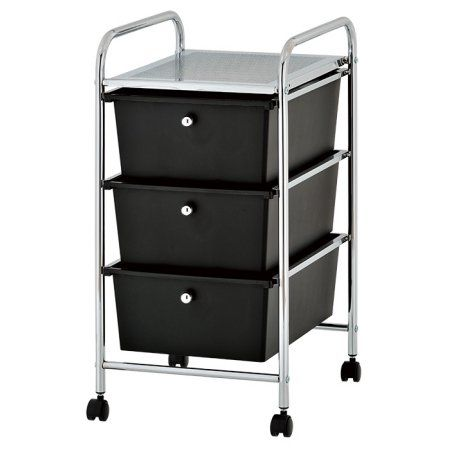 Urban Plastic 3 Drawer Rolling Organizer Storage Cart Multiple Colors Black