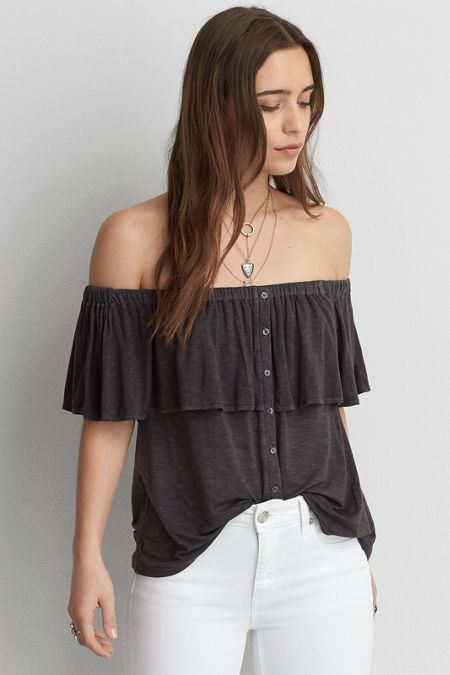4ea6c49b73078 American Eagle Outfitters AE Button Off-the-Shoulder Top