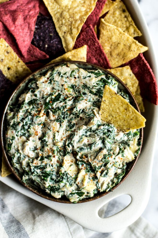 Vegan Spinach Artichoke Dip by Lisa Lin of Healthy Nibbles & Bits