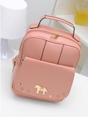 Pink Backpack With Alloy Horse Decorate