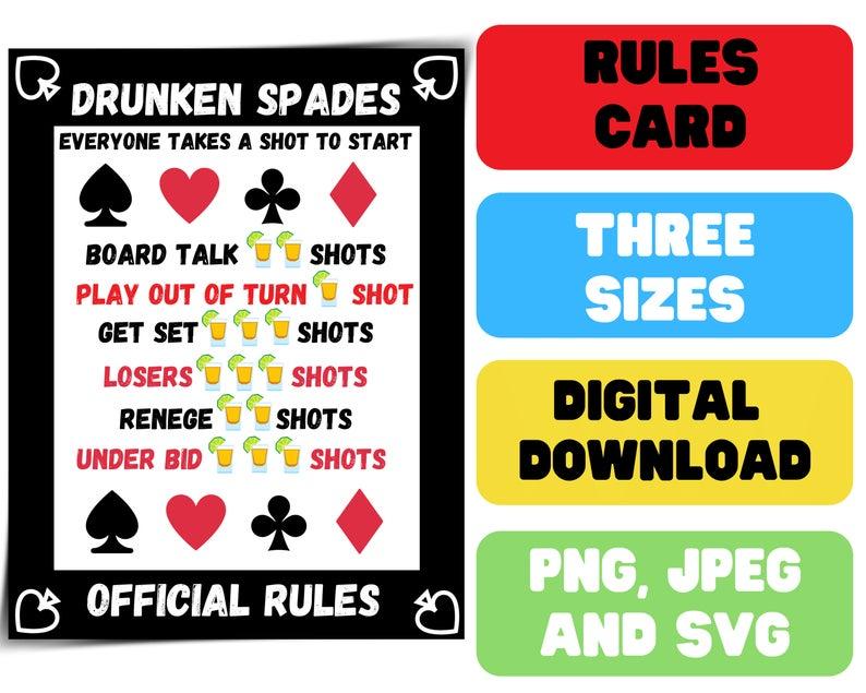 Drunken Spades Rules Printable Drinking Spades Rules Spades Card Game Digital Download Downloadable File Svg Spades Game Spades Card Game Spades Rules