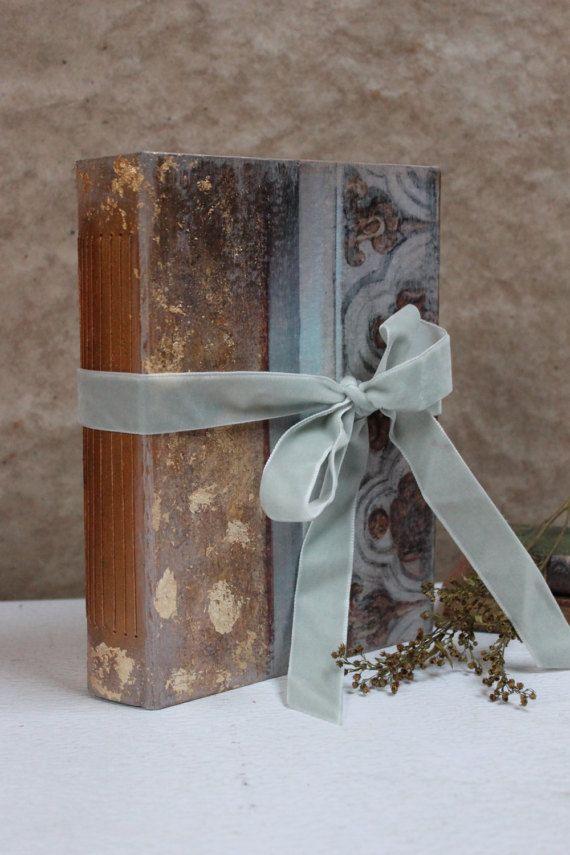 Gold Gray Vintage Style Wedding Guest Book Handmade By Lotusblubookart Ooak 60 Ready