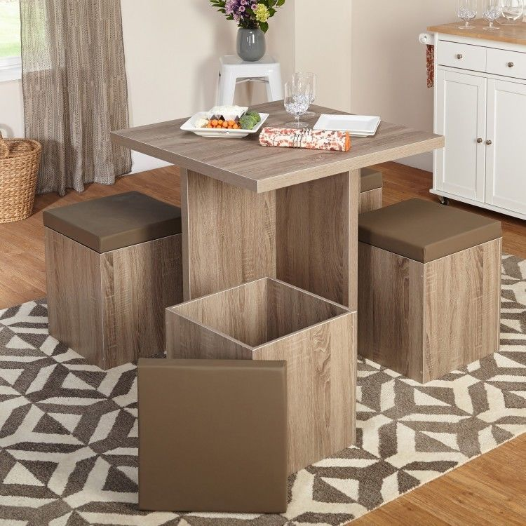 Kitchen Table Set Storage Ottoman Chairs Breakfast Nook Dining Square Wood & Kitchen Table Set Storage Ottoman Chairs Breakfast Nook Dining ...