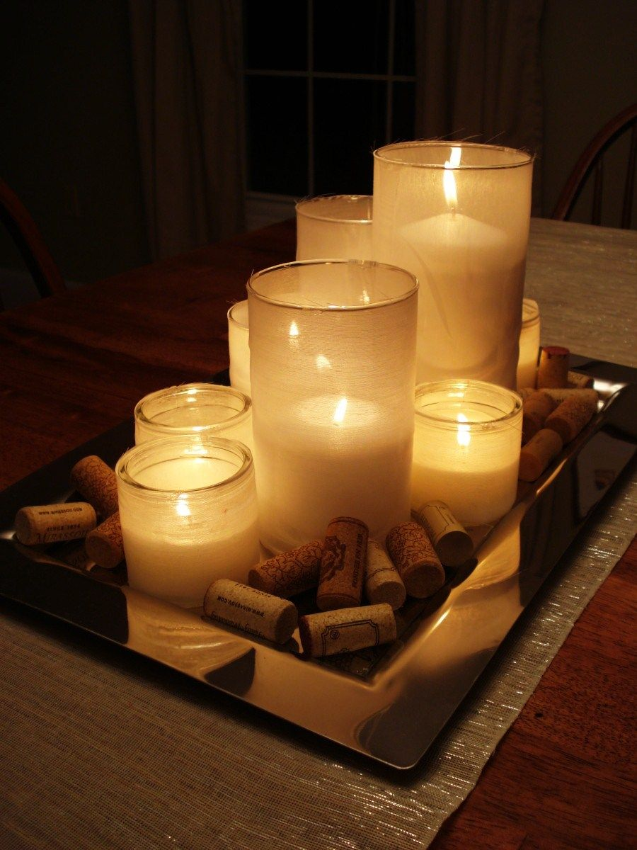 candle centerpiece id replace the corks with rocks or beads or