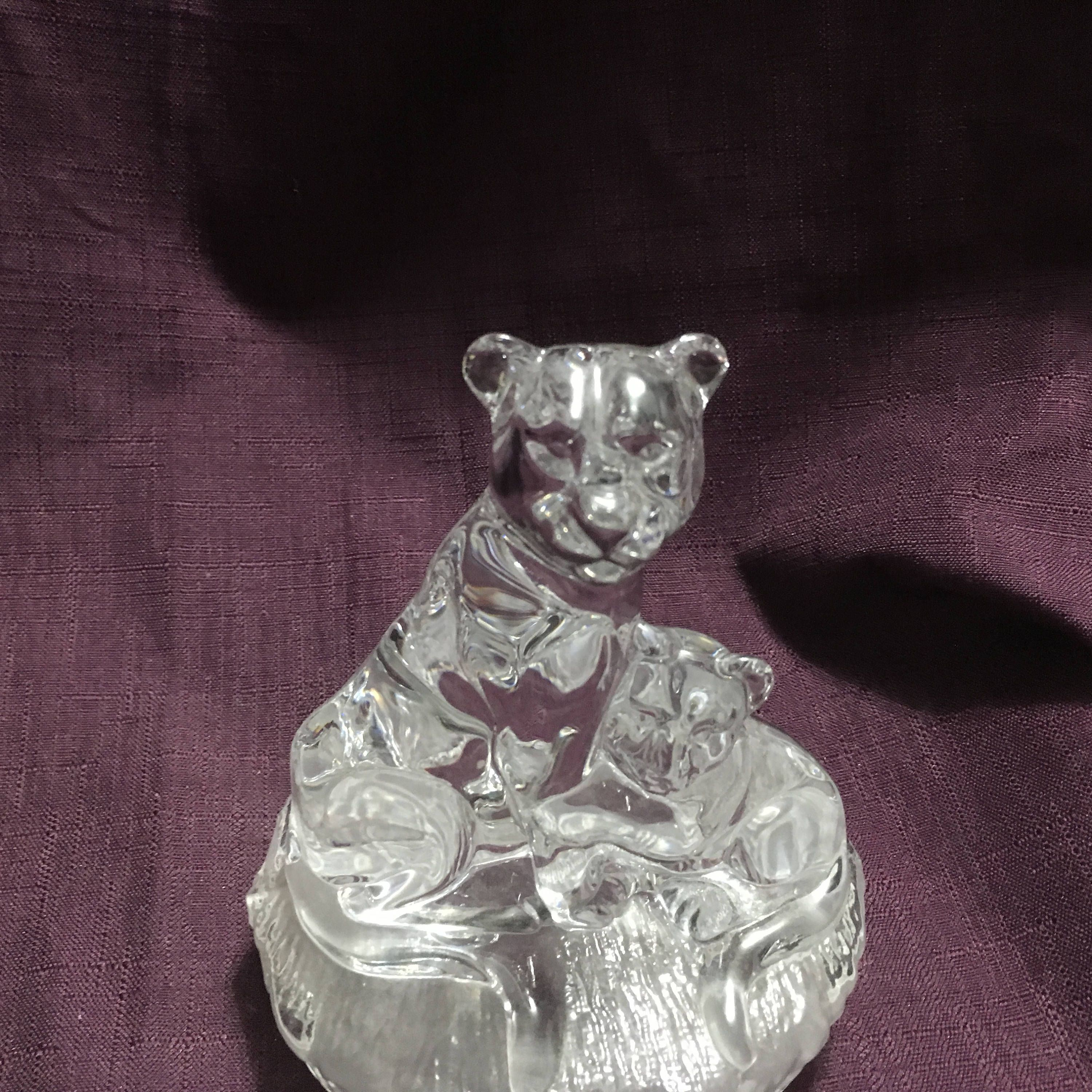 Italian RCR Royal Crystal Rock Lion Cub Sculpture Familes De Cristal Wildlife Italy Gift Idea FREE USA Shipping's on Us @Everything Vintage