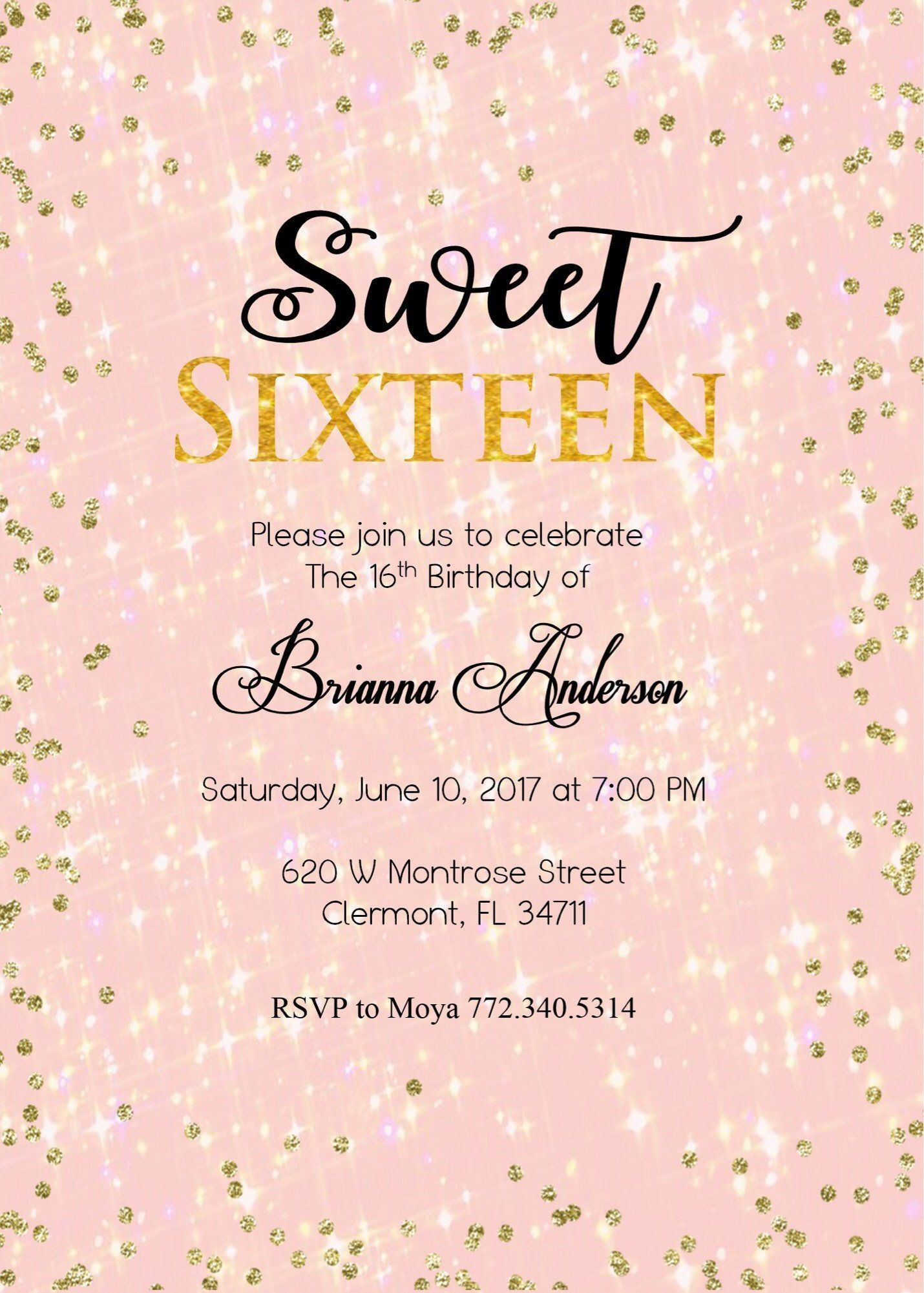 birthday invitation template 16th