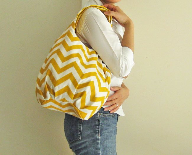 Tote bag - yellow chevron stripes. $68.00, via Etsy.