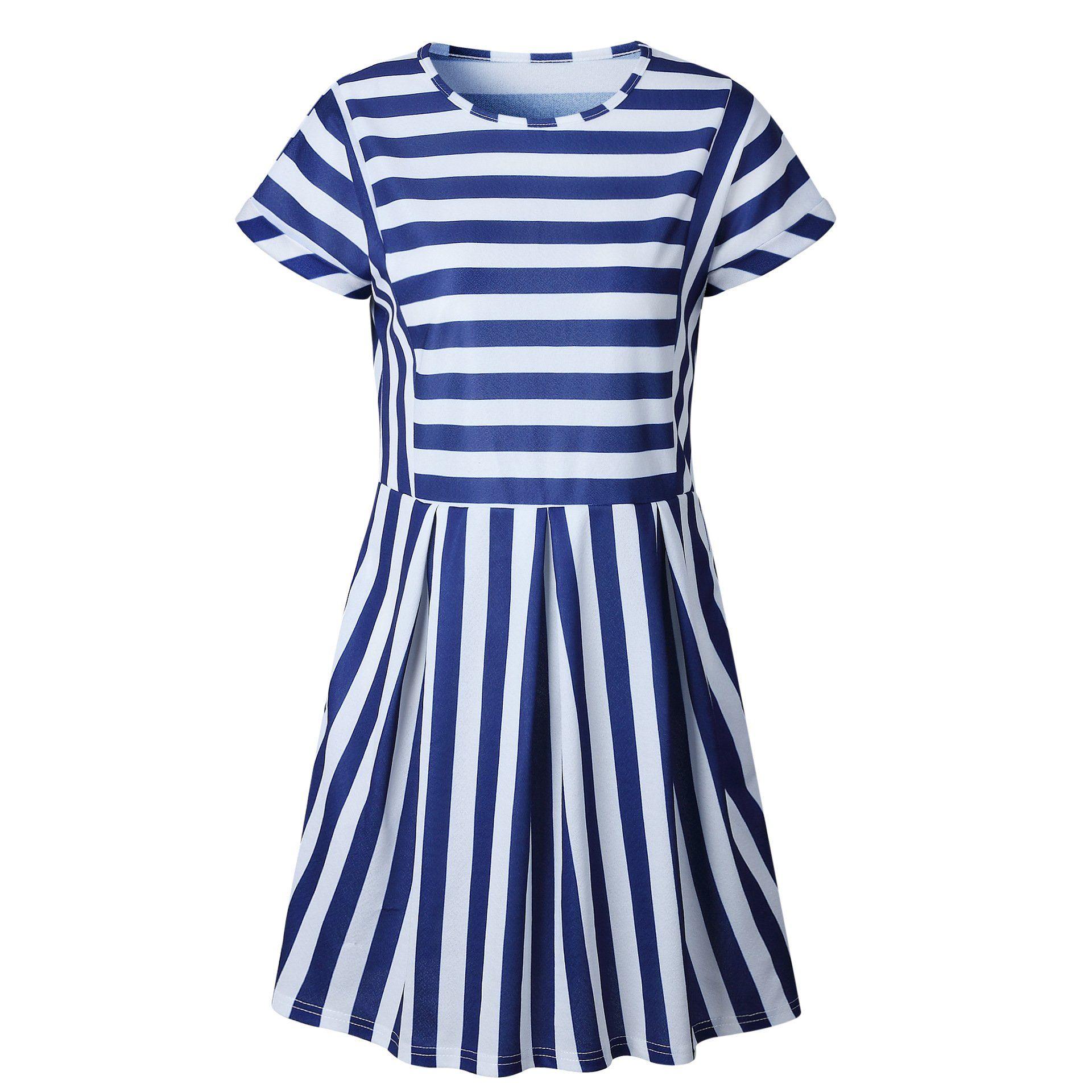 Stripe Casual Dress In 2021 Striped Casual Dresses Short Sleeve Mini Dress Sleeved Swing Dress [ 1920 x 1920 Pixel ]